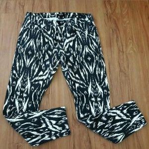 BDG Black White Print Mid Rise Twig Ankle Pants
